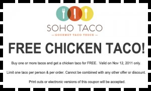 Soho Taco Gourmet Taco Truck FREE Chicken Taco Coupon Offer