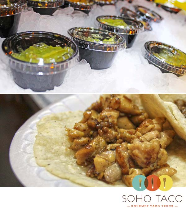 Gourmet Food Truck Customer Loves Her Chicken Taco With Guacamole