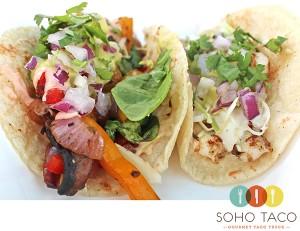 SoHo Taco Gourmet Taco Truck - Veggie & Calamari Taco Combo - Orange County CA