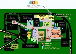 SoHo Taco Gourmet Taco Truck - Saddleback Church - Lake Forest - Orange County CA - Campus Map