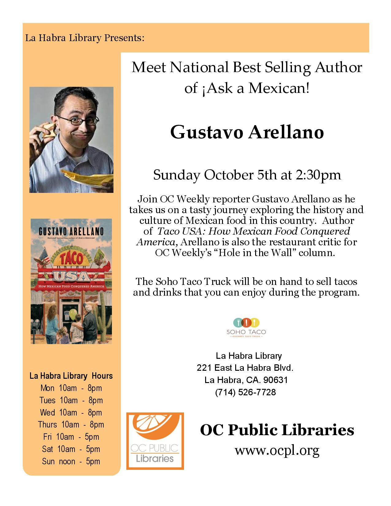 SOHO TACO Gourmet Taco Truck - La Habra Public Library - Lunch With Gustavo Arellano - October 2014