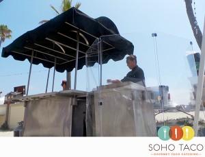 SOHO TACO Gourmet Taco Catering - Long Beach - Belmont Shores - Plexiglass Shields Around The Tortilla Grill