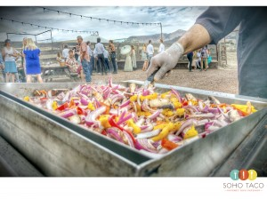 SOHO TACO Gourmet Taco Catering - Wedding - San Luis Obispo - Spreafico Farms Barn - Grilling Veggies