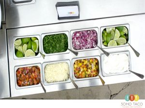 SOHO TACO Gourmet Taco Cart Catering - Condiments - Salsas - Wedding Catering