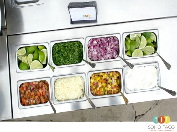SOHO TACO Gourmet Taco Cart Catering - Condiments - Salsas - Wedding Catering
