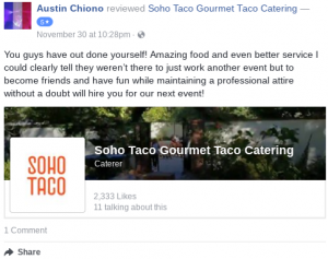 SOHO TACO Gourmet Taco Catering - 5 star review - Facebook