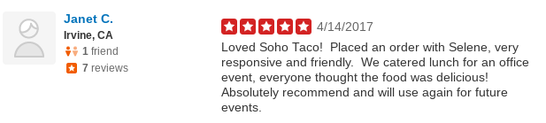 SOHO TACO Gourmet Taco Catering -Office Party Catering - Yelp Review