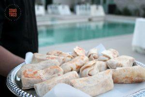 SOHO TACO Gourmet Taco Catering - Indio Polo Villas Wedding - Tray of Mini Bean & Cheese Burritos