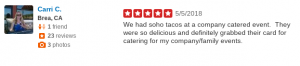 SOHO TACO Gourmet Taco Catering - 5 Star Yelp Review - Brea CA