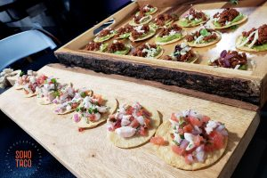 SOHO TACO Gourmet Taco Catering - BizBash Live - Los Angeles CA 2018 - Wood Planks of Appetizers