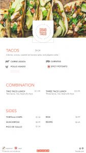 SOHO TACO / Fooda Menu (January 11 2019)