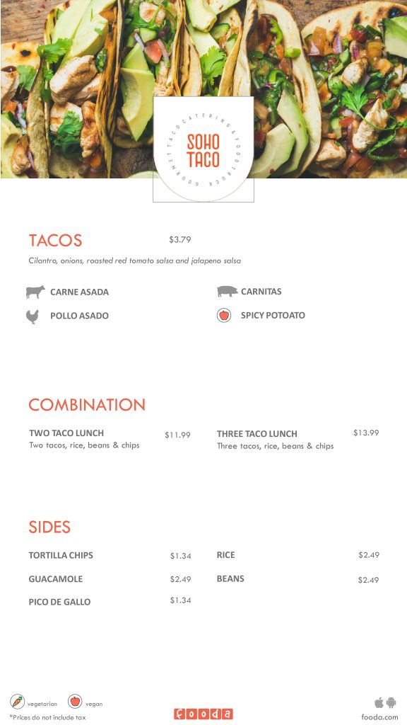 SOHO TACO Gourmet Taco Catering - Fooda Menu (February 2019)