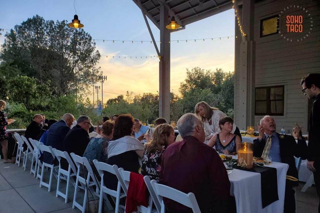 SOHO TACO Gourmet Taco Catering - Fullerton Arboretum Wedding - Sunset In The Courtyard