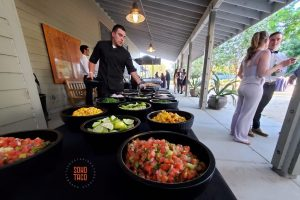 SOHO TACO Gourmet Taco Catering - Fullerton Arboretum Wedding - Setting Up The Salsa & Condiments Table