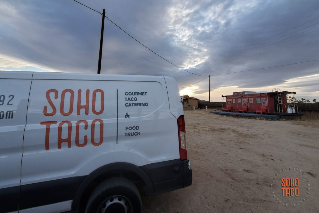 SOHO TACO Gourmet Taco Catering - Hicksville Trailer Palace - Wedding - View of Van & Sunset