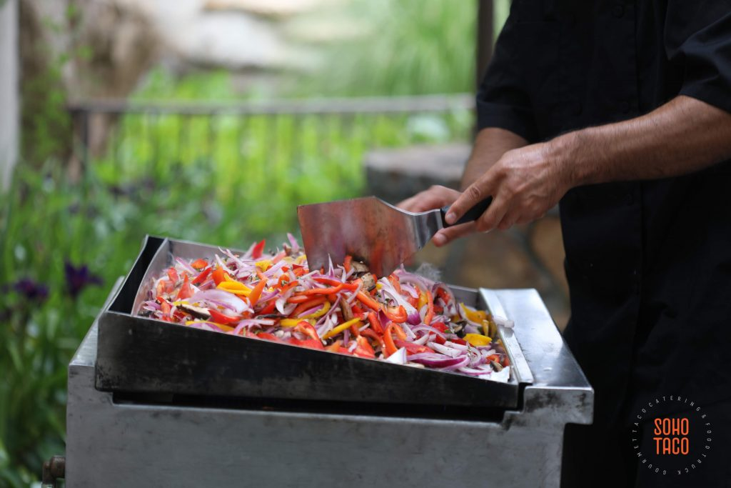 SOHO TACO Gourmet Taco Catering - Dove Canyon Courtyard - Wedding Catering - Cesar Grilling Veggies