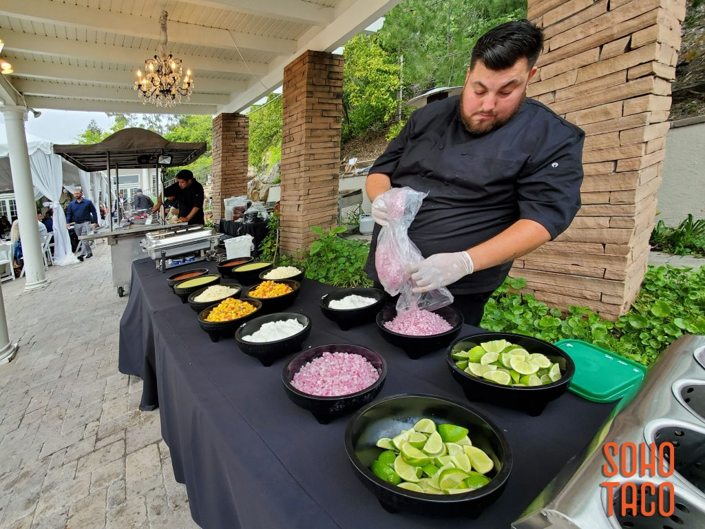 SOHO TACO Gourmet Taco Catering - Dove Canyon Courtyard - Wedding Catering - Filling Up The Condiments & Salsas Table