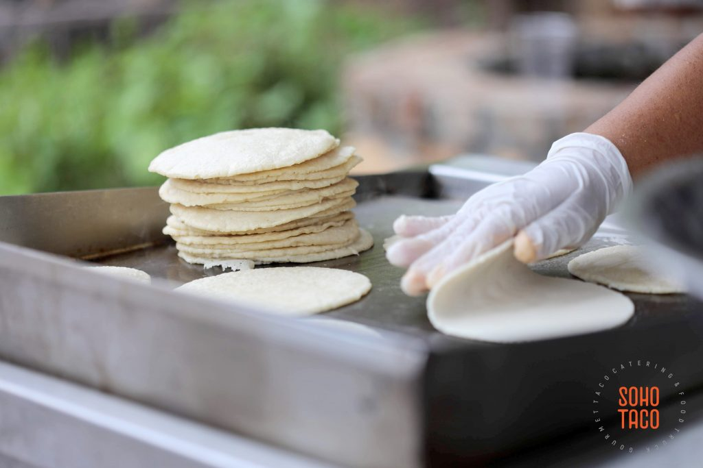 SOHO TACO Gourmet Taco Catering - Dove Canyon Courtyard - Wedding Catering - Flipping Fresh Hand-Pressed Tortillas
