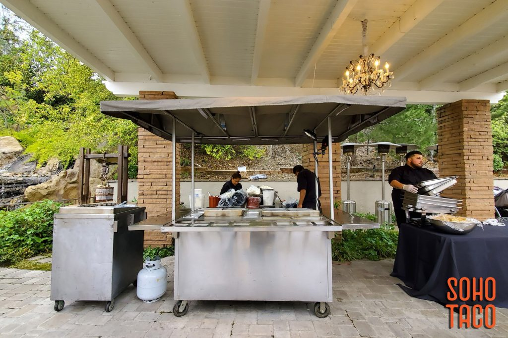 SOHO TACO Gourmet Taco Catering - Dove Canyon Courtyard - Wedding Catering - View of Cart Under Shelter