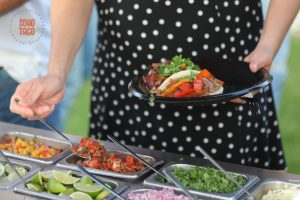 SOHO TACO Gourmet Taco Catering - Del Mar Surf Station - Wedding Engagement Party - Adding Pico De Gallo